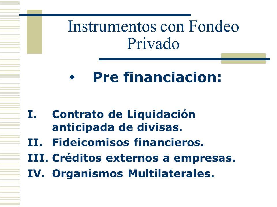 Instrumentos con Fondeo Privado Pre financiacion: I.Contrato de Liquidación anticipada de divisas. II.Fideicomisos financieros. III.Créditos externos