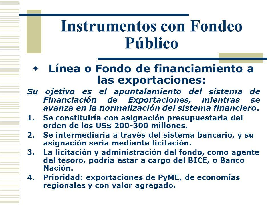 Instrumentos con Fondeo Público Línea o Fondo de financiamiento a las exportaciones: Su ojetivo es el apuntalamiento del sistema de Financiación de Ex