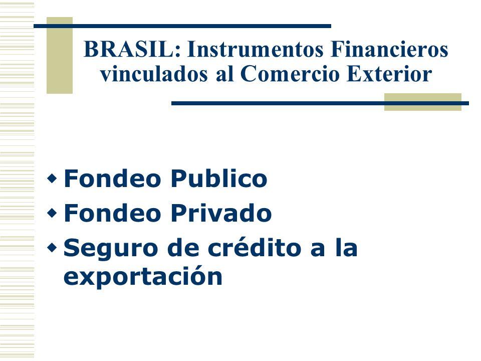BRASIL: Instrumentos Financieros vinculados al Comercio Exterior Fondeo Publico Fondeo Privado Seguro de crédito a la exportación