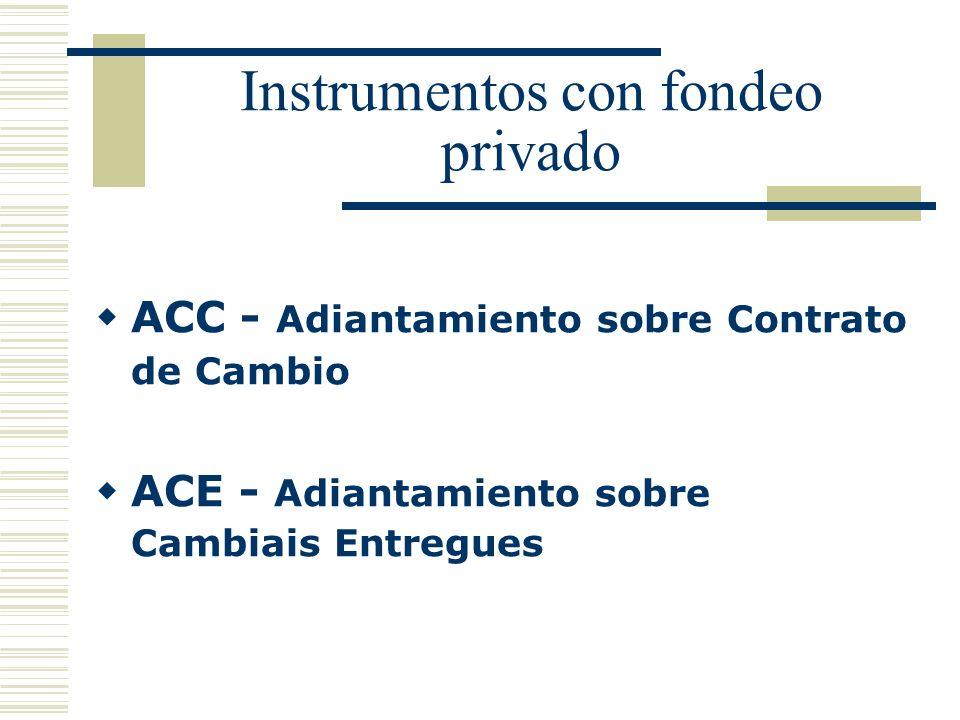 Instrumentos con fondeo privado ACC - Adiantamiento sobre Contrato de Cambio ACE - Adiantamiento sobre Cambiais Entregues