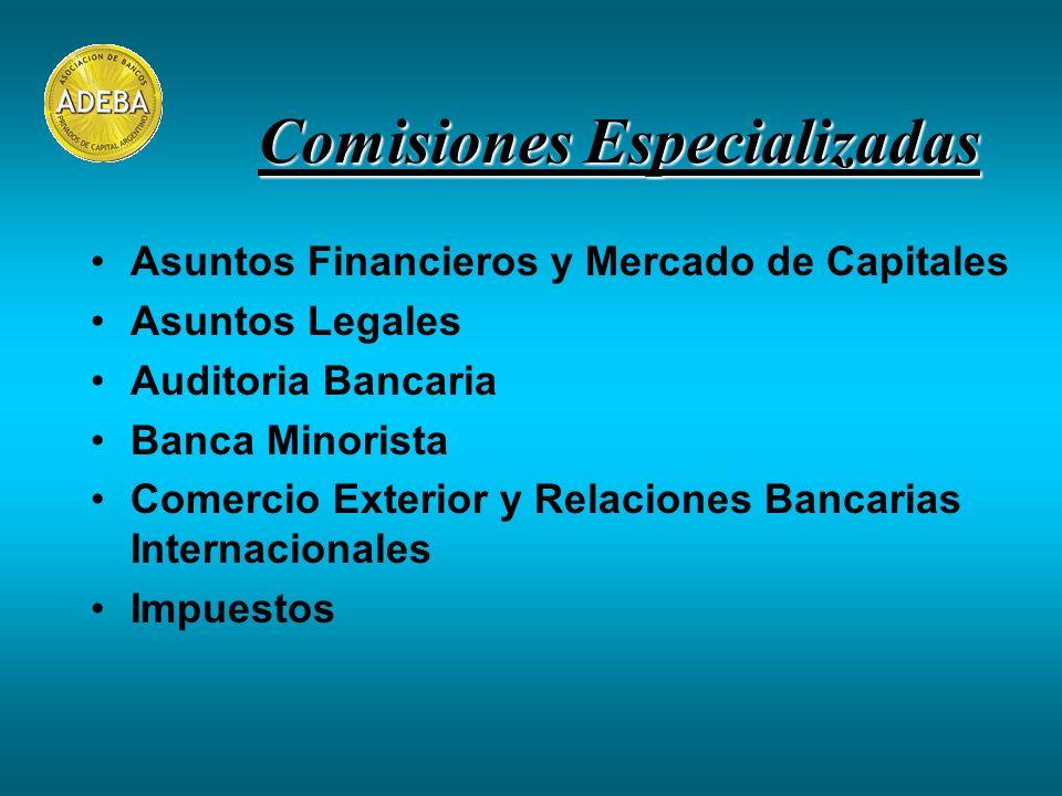 Asuntos Financieros y Mercado de Capitales Asuntos Legales Auditoria Bancaria Banca Minorista Comercio Exterior y Relaciones Bancarias Internacionales Impuestos Comisiones Especializadas