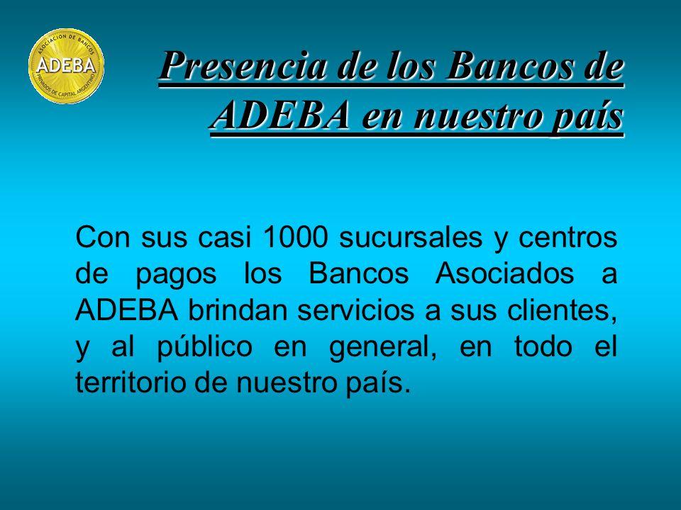 Presencia de los Bancos de ADEBA en nuestro país Con sus casi 1000 sucursales y centros de pagos los Bancos Asociados a ADEBA brindan servicios a sus clientes, y al público en general, en todo el territorio de nuestro país.