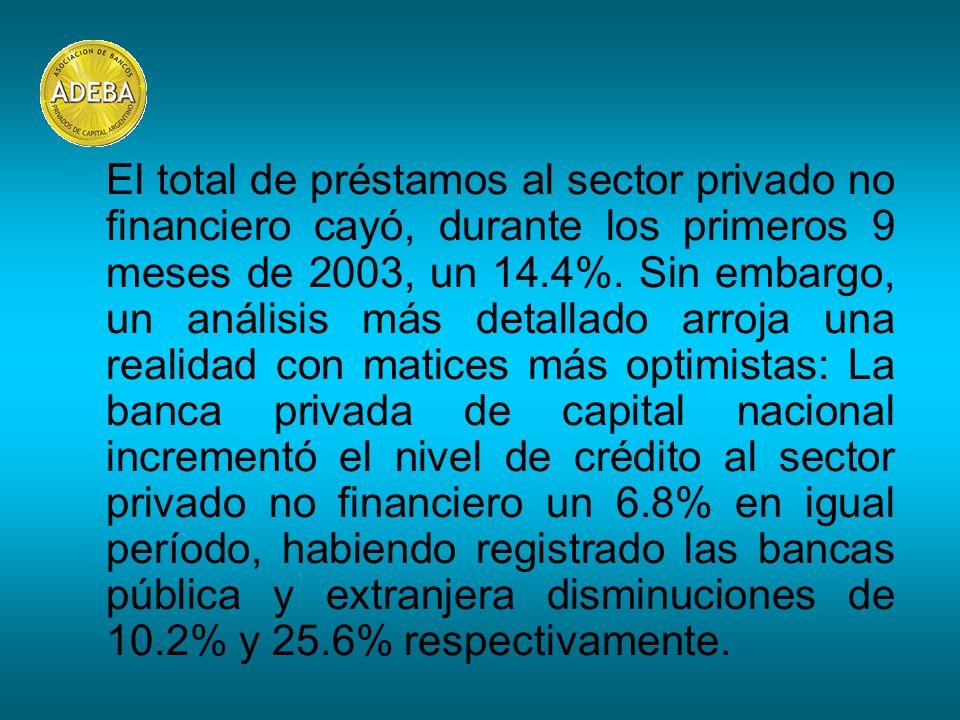 El total de préstamos al sector privado no financiero cayó, durante los primeros 9 meses de 2003, un 14.4%. Sin embargo, un análisis más detallado arr