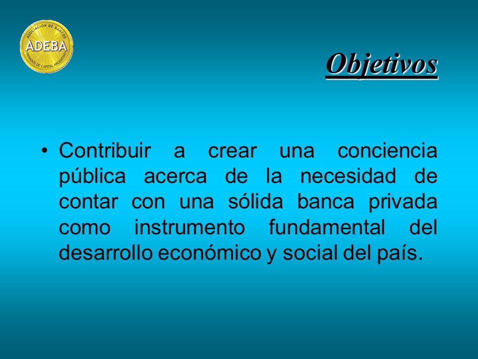 Objetivos Contribuir a crear una conciencia pública acerca de la necesidad de contar con una sólida banca privada como instrumento fundamental del desarrollo económico y social del país.