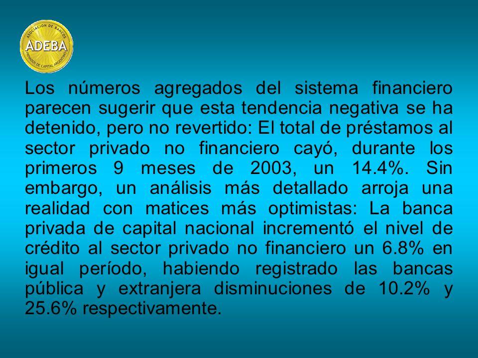 Los números agregados del sistema financiero parecen sugerir que esta tendencia negativa se ha detenido, pero no revertido: El total de préstamos al sector privado no financiero cayó, durante los primeros 9 meses de 2003, un 14.4%.