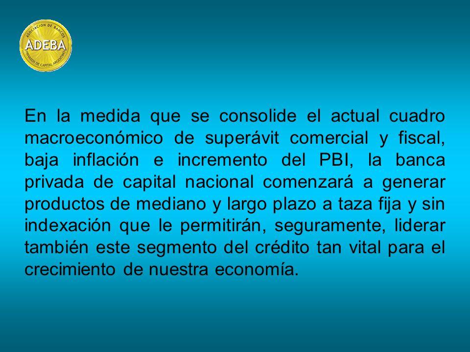 En la medida que se consolide el actual cuadro macroeconómico de superávit comercial y fiscal, baja inflación e incremento del PBI, la banca privada d
