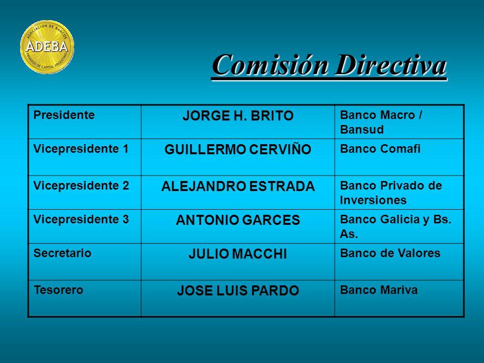 Comisión Directiva Presidente JORGE H. BRITO Banco Macro / Bansud Vicepresidente 1 GUILLERMO CERVIÑO Banco Comafi Vicepresidente 2 ALEJANDRO ESTRADA B