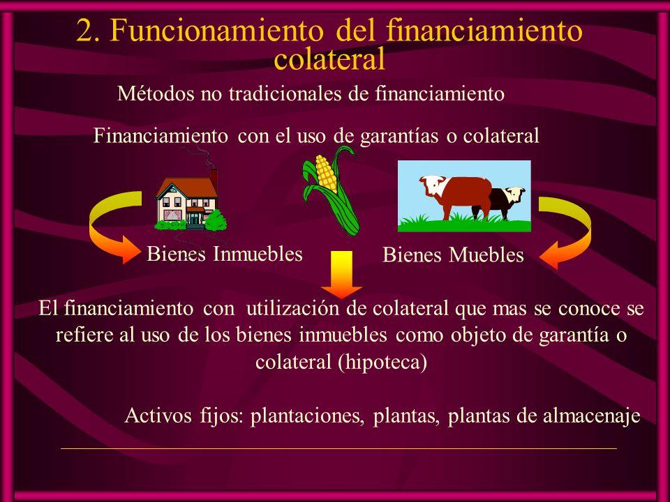 Uso de bienes muebles como garantías Productos básicos, ganaderos, forestales, manufacturas, mineros depositados en almacén Los certificados de depósito son emitidos por almacenes reconocidos para este propósito.