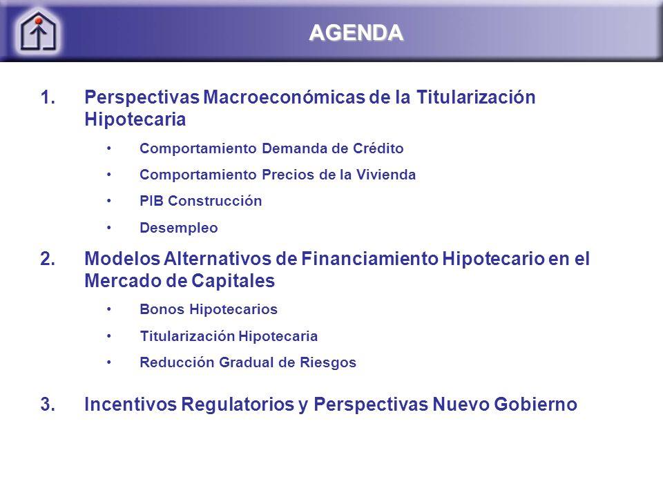 1.Perspectivas Macroeconómicas de la Titularización Hipotecaria Comportamiento Demanda de Crédito Comportamiento Precios de la Vivienda PIB Construcción Desempleo 2.Modelos Alternativos de Financiamiento Hipotecario en el Mercado de Capitales Bonos Hipotecarios Titularización Hipotecaria Reducción Gradual de Riesgos 3.Incentivos Regulatorios y Perspectivas Nuevo Gobierno AGENDA