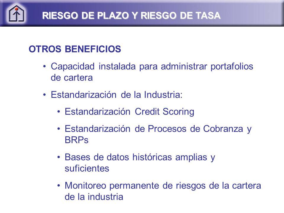 OTROS BENEFICIOS Capacidad instalada para administrar portafolios de cartera Estandarización de la Industria: Estandarización Credit Scoring Estandari