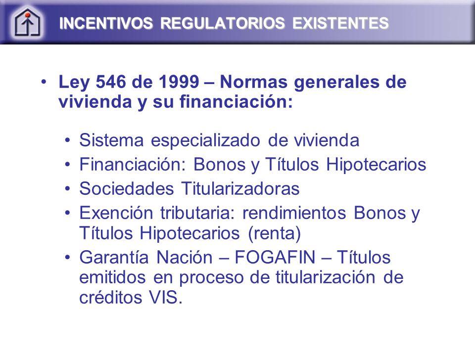 INCENTIVOS REGULATORIOS EXISTENTES Ley 546 de 1999 – Normas generales de vivienda y su financiación: Sistema especializado de vivienda Financiación: B