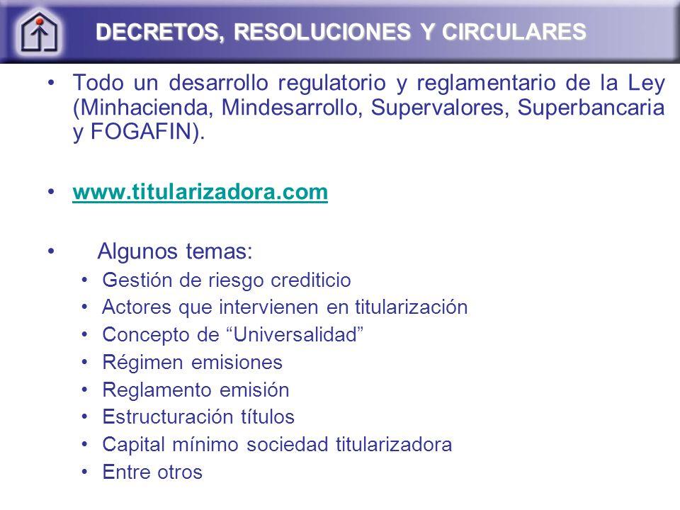 Todo un desarrollo regulatorio y reglamentario de la Ley (Minhacienda, Mindesarrollo, Supervalores, Superbancaria y FOGAFIN). www.titularizadora.com A