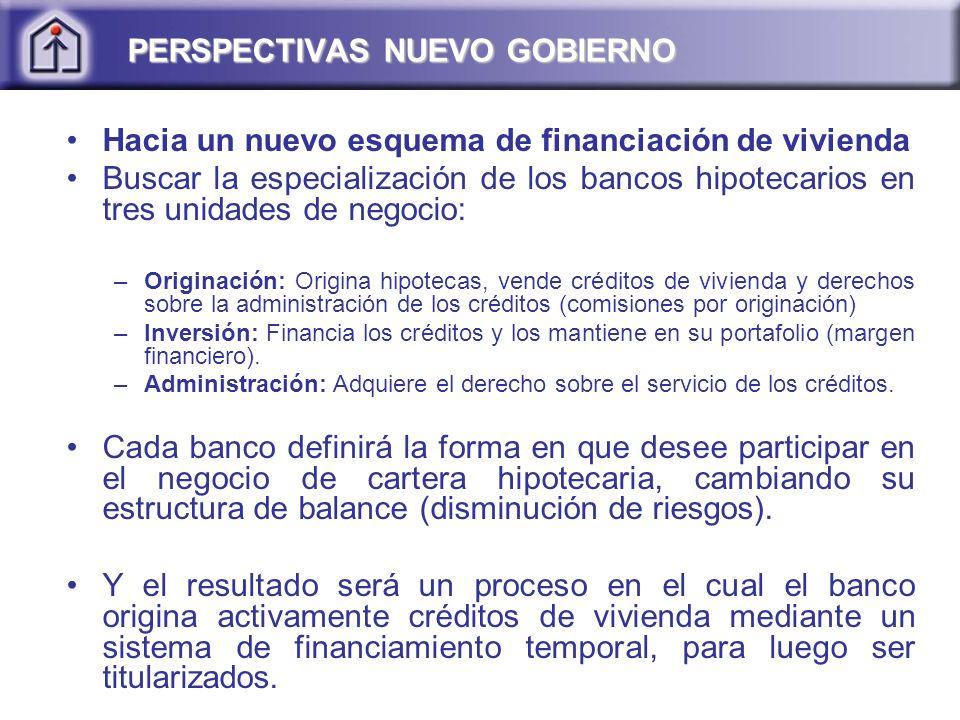Hacia un nuevo esquema de financiación de vivienda Buscar la especialización de los bancos hipotecarios en tres unidades de negocio: –Originación: Ori
