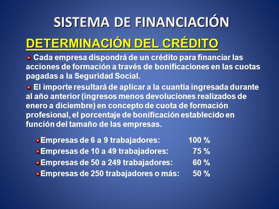 SISTEMA DE FINANCIACIÓN DETERMINACIÓN DEL CRÉDITO Cada empresa dispondrá de un crédito para financiar las acciones de formación a través de bonificaci