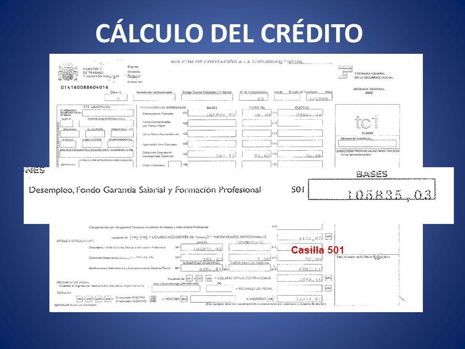 CÁLCULO DEL CRÉDITO Casilla 501