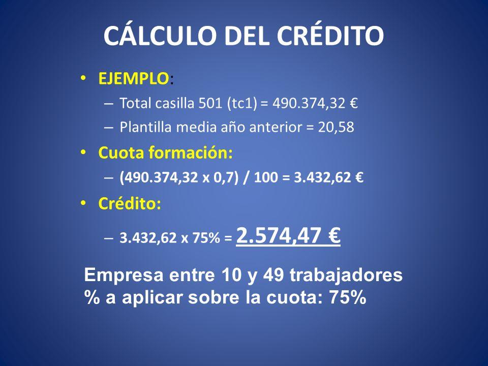 CÁLCULO DEL CRÉDITO EJEMPLO: – Total casilla 501 (tc1) = 490.374,32 – Plantilla media año anterior = 20,58 Cuota formación: – (490.374,32 x 0,7) / 100