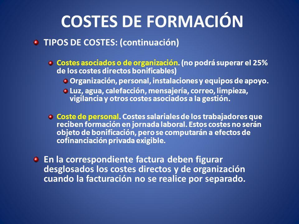 COSTES DE FORMACIÓN TIPOS DE COSTES: (continuación) Costes asociados o de organización. (no podrá superar el 25% de los costes directos bonificables)