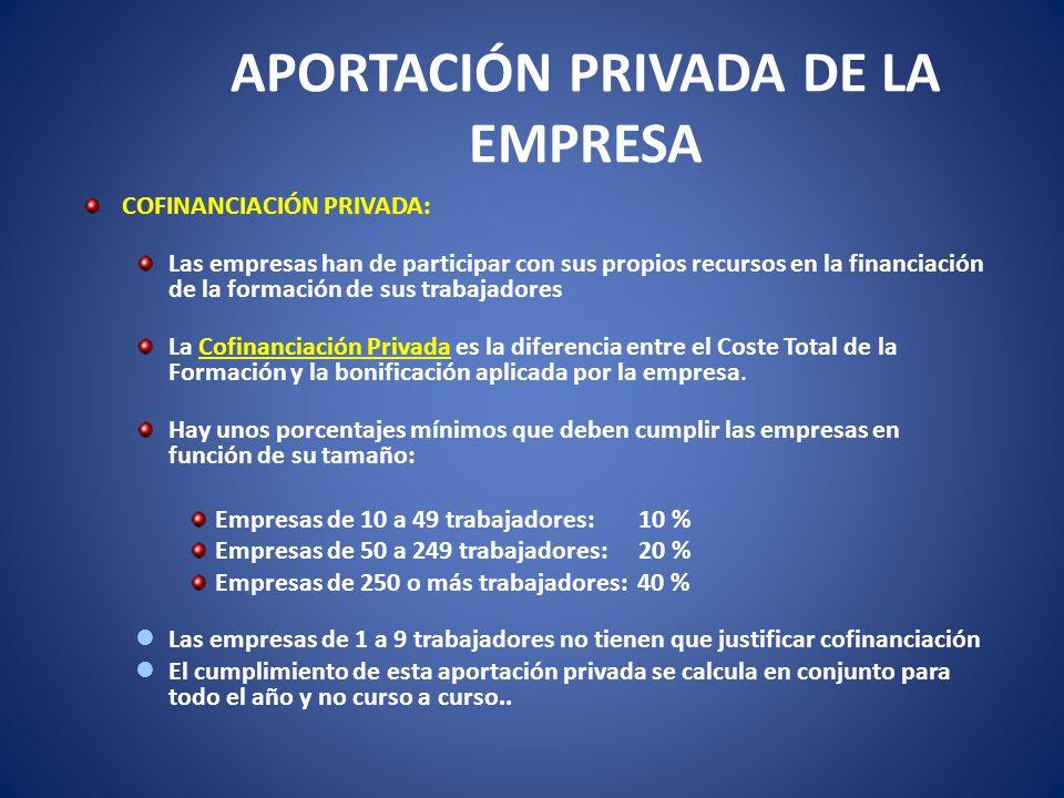 APORTACIÓN PRIVADA DE LA EMPRESA COFINANCIACIÓN PRIVADA: Las empresas han de participar con sus propios recursos en la financiación de la formación de