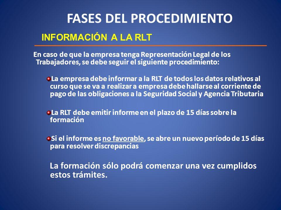 FASES DEL PROCEDIMIENTO INFORMACIÓN A LA RLT En caso de que la empresa tenga Representación Legal de los Trabajadores, se debe seguir el siguiente pro