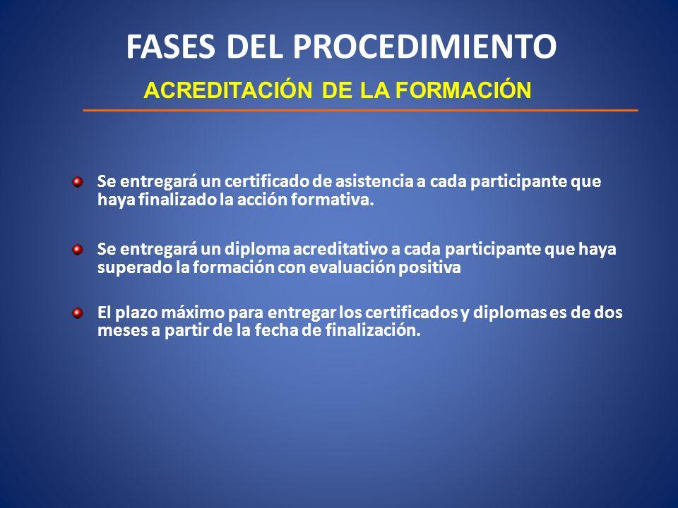 FASES DEL PROCEDIMIENTO ACREDITACIÓN DE LA FORMACIÓN Se entregará un certificado de asistencia a cada participante que haya finalizado la acción forma