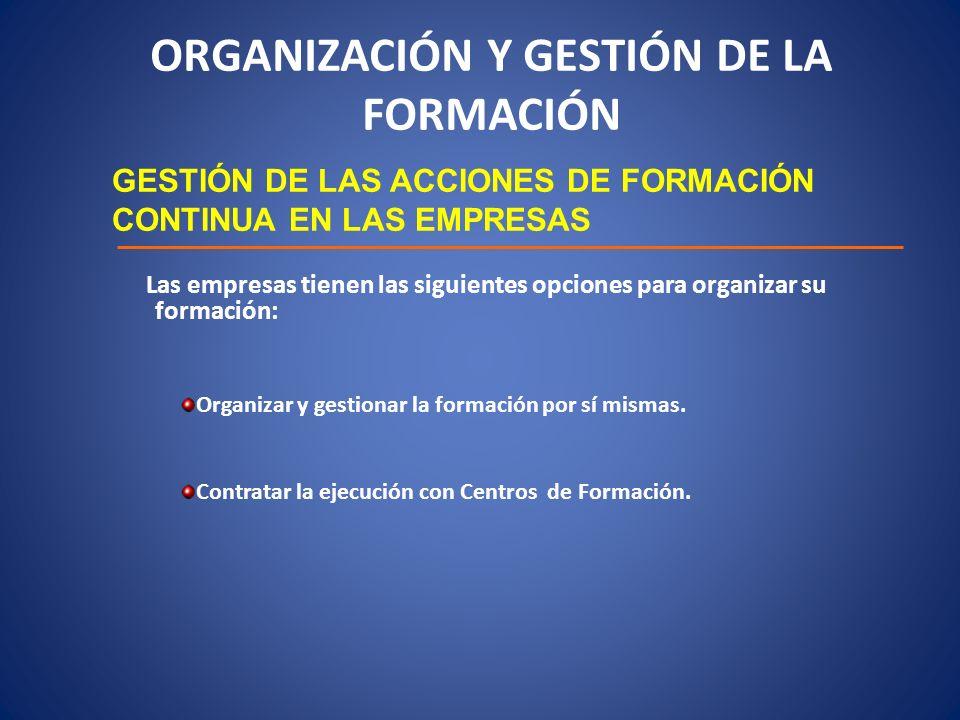 ORGANIZACIÓN Y GESTIÓN DE LA FORMACIÓN GESTIÓN DE LAS ACCIONES DE FORMACIÓN CONTINUA EN LAS EMPRESAS Las empresas tienen las siguientes opciones para