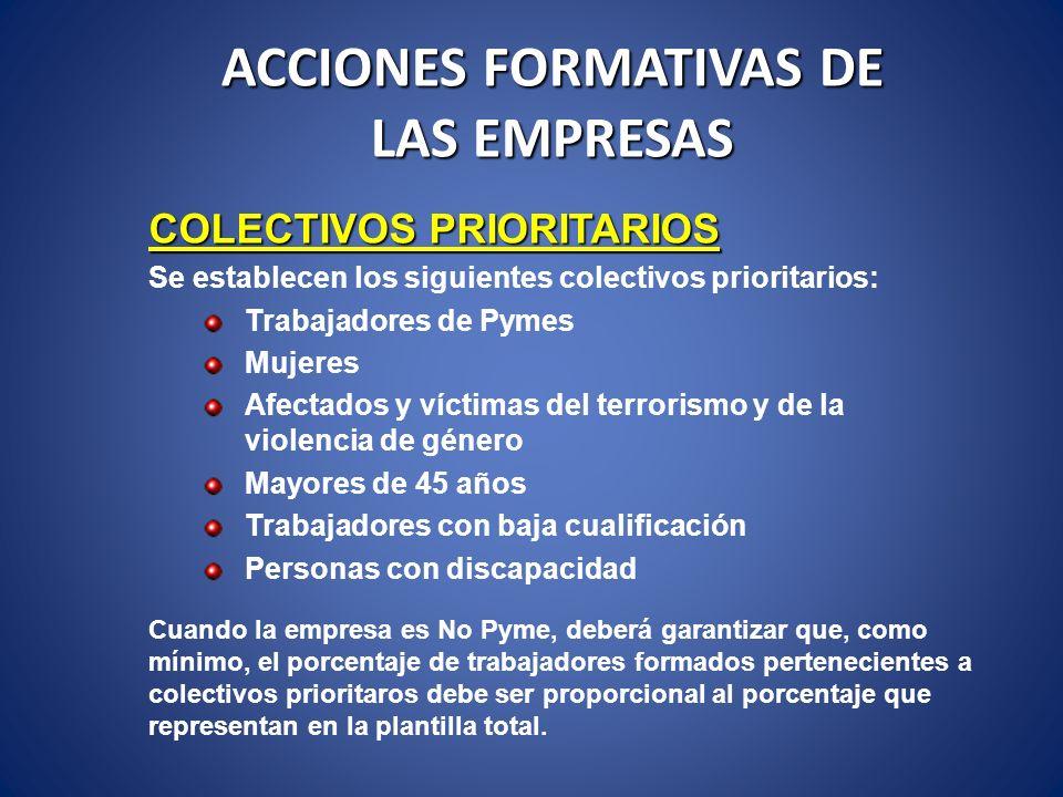 ACCIONES FORMATIVAS DE LAS EMPRESAS COLECTIVOS PRIORITARIOS Se establecen los siguientes colectivos prioritarios: Trabajadores de Pymes Mujeres Afecta