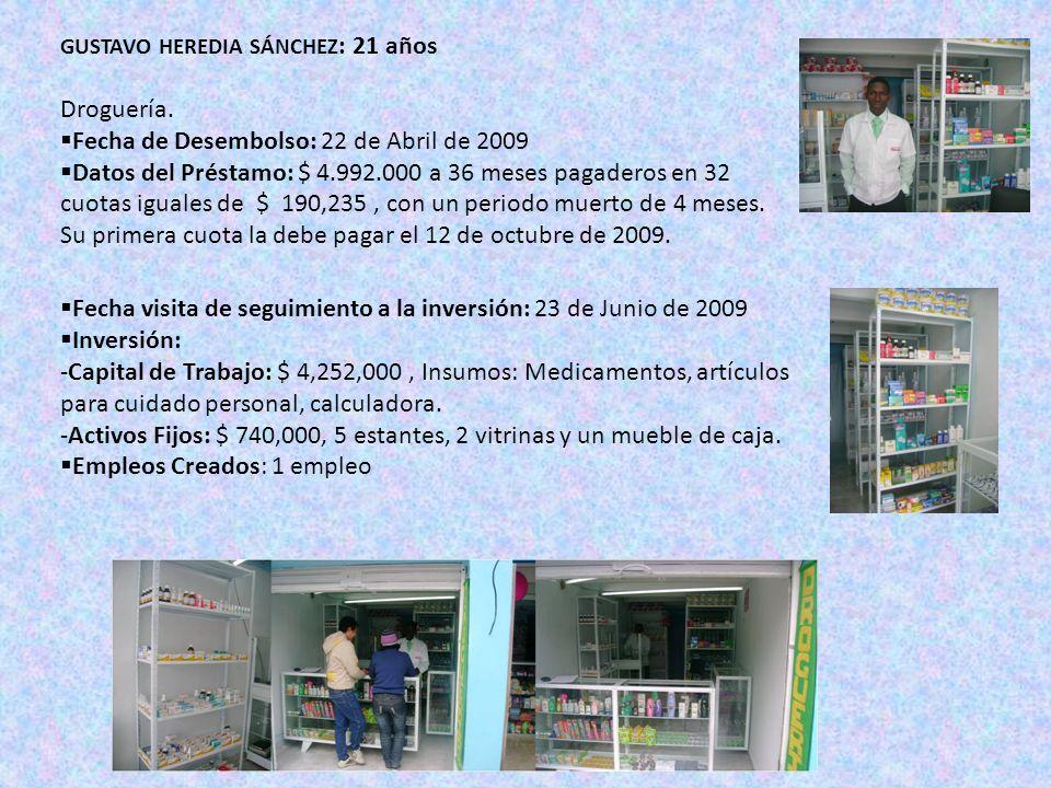 Fecha visita de seguimiento a la inversión: 23 de Junio de 2009 Inversión: -Capital de Trabajo: $ 4,252,000, Insumos: Medicamentos, artículos para cuidado personal, calculadora.