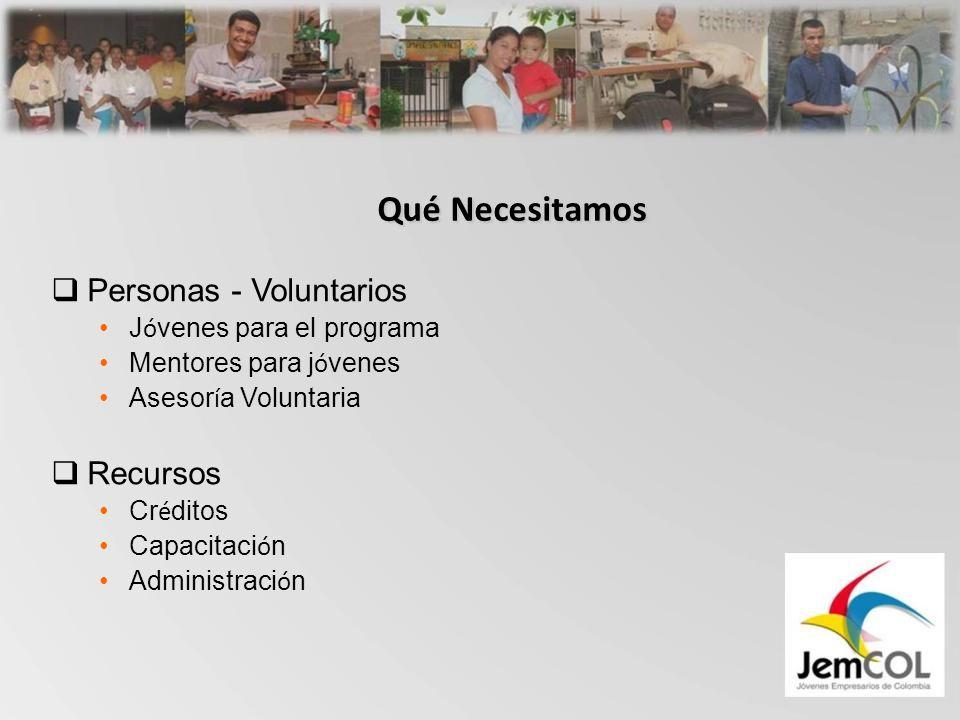Qué Necesitamos Personas - Voluntarios J ó venes para el programa Mentores para j ó venes Asesor í a Voluntaria Recursos Cr é ditos Capacitaci ó n Administraci ó n