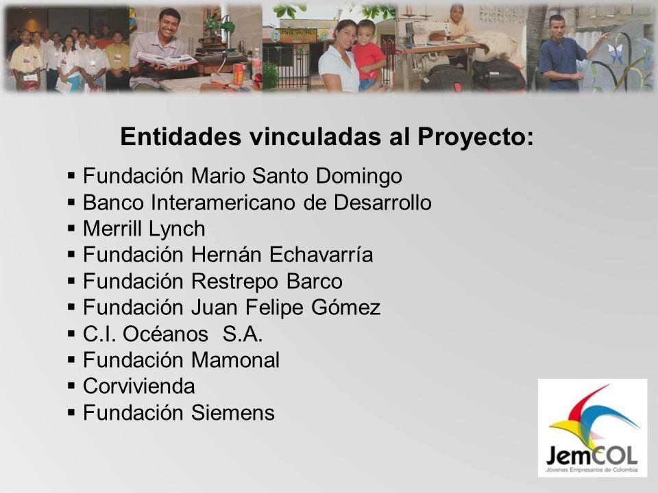 Entidades vinculadas al Proyecto: Fundación Mario Santo Domingo Banco Interamericano de Desarrollo Merrill Lynch Fundación Hernán Echavarría Fundación Restrepo Barco Fundación Juan Felipe Gómez C.I.