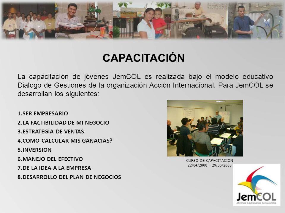 CAPACITACIÓN La capacitación de jóvenes JemCOL es realizada bajo el modelo educativo Dialogo de Gestiones de la organización Acción Internacional.