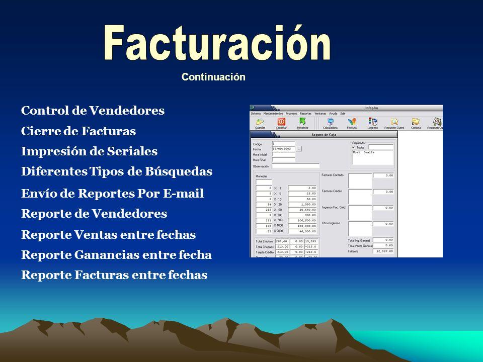 Contenido del módulo de facturación Facturación normal Facturación tipo Punto de Venta Cobros Efectivo, tarjeta o Cheque Conduce Cotización Opción de