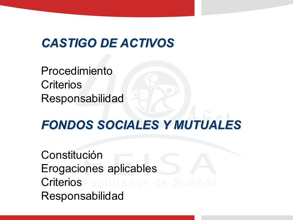 CASTIGO DE ACTIVOS Procedimiento Criterios Responsabilidad FONDOS SOCIALES Y MUTUALES Constitución Erogaciones aplicables Criterios Responsabilidad