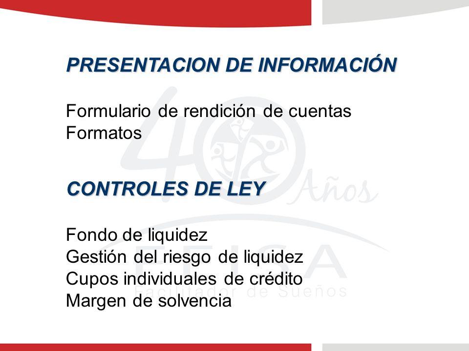 PRESENTACION DE INFORMACIÓN Formulario de rendición de cuentas Formatos CONTROLES DE LEY Fondo de liquidez Gestión del riesgo de liquidez Cupos individuales de crédito Margen de solvencia