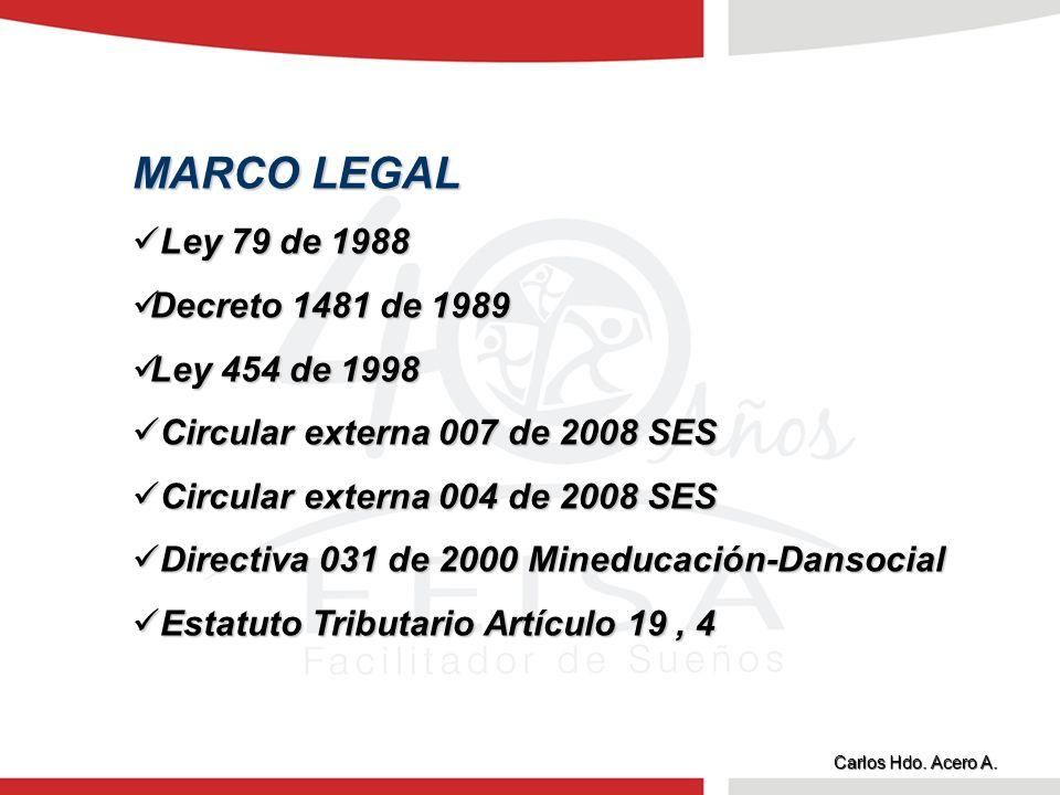 MARCO LEGAL Ley 79 de 1988 Ley 79 de 1988 Decreto 1481 de 1989 Decreto 1481 de 1989 Ley 454 de 1998 Ley 454 de 1998 Circular externa 007 de 2008 SES C