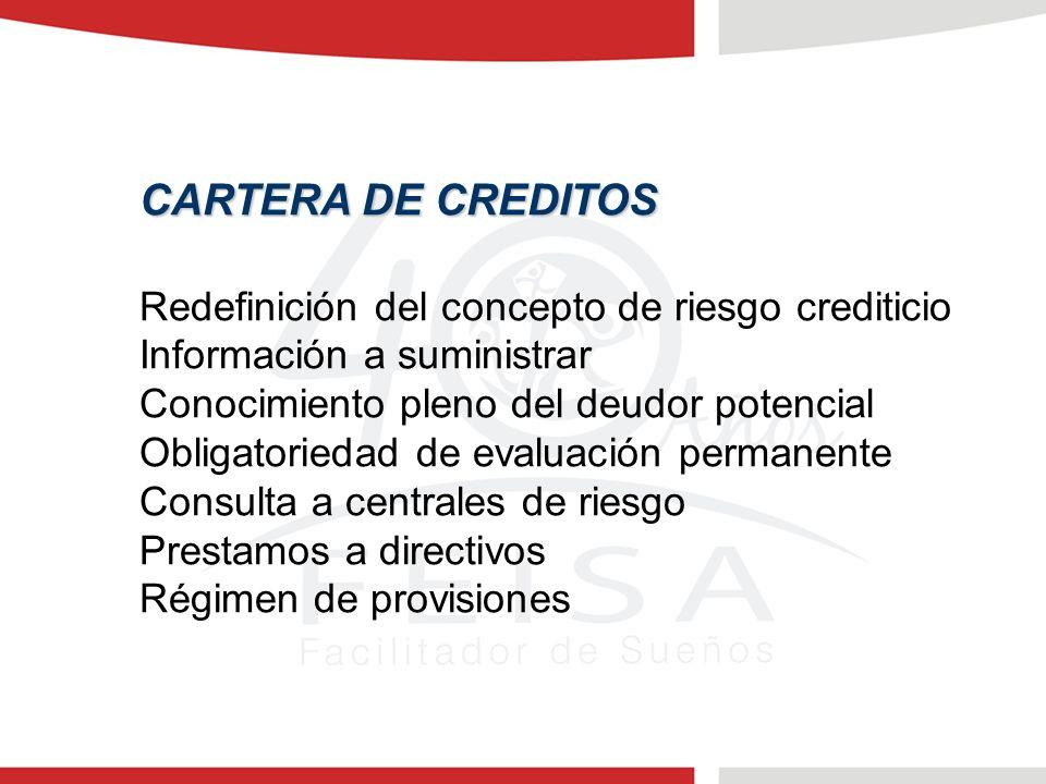 CARTERA DE CREDITOS Redefinición del concepto de riesgo crediticio Información a suministrar Conocimiento pleno del deudor potencial Obligatoriedad de evaluación permanente Consulta a centrales de riesgo Prestamos a directivos Régimen de provisiones