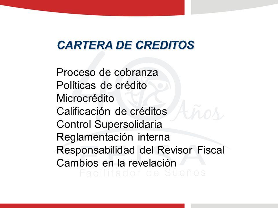 CARTERA DE CREDITOS Proceso de cobranza Políticas de crédito Microcrédito Calificación de créditos Control Supersolidaria Reglamentación interna Responsabilidad del Revisor Fiscal Cambios en la revelación