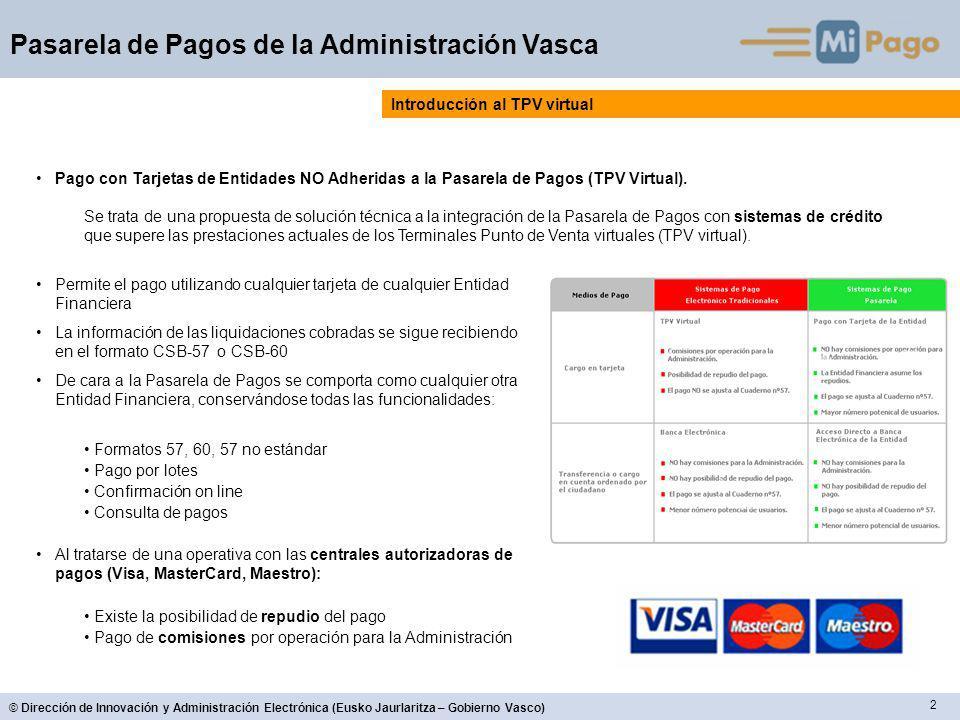 2 © Dirección de Innovación y Administración Electrónica (Eusko Jaurlaritza – Gobierno Vasco) Pasarela de Pagos de la Administración Vasca Introducció