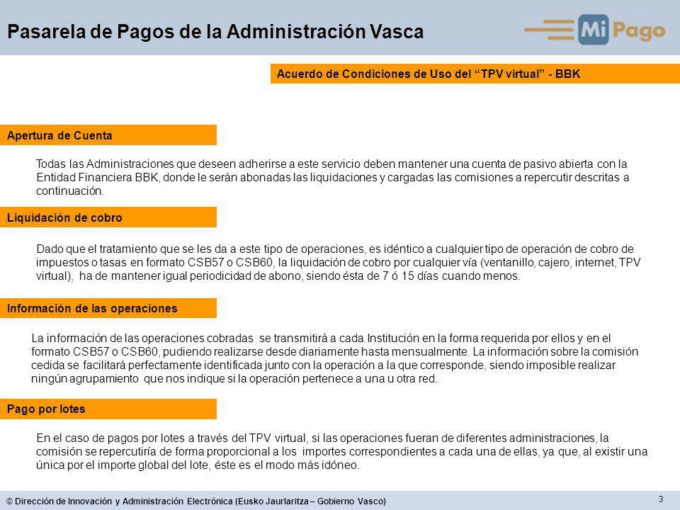 3 © Dirección de Innovación y Administración Electrónica (Eusko Jaurlaritza – Gobierno Vasco) Pasarela de Pagos de la Administración Vasca Acuerdo de
