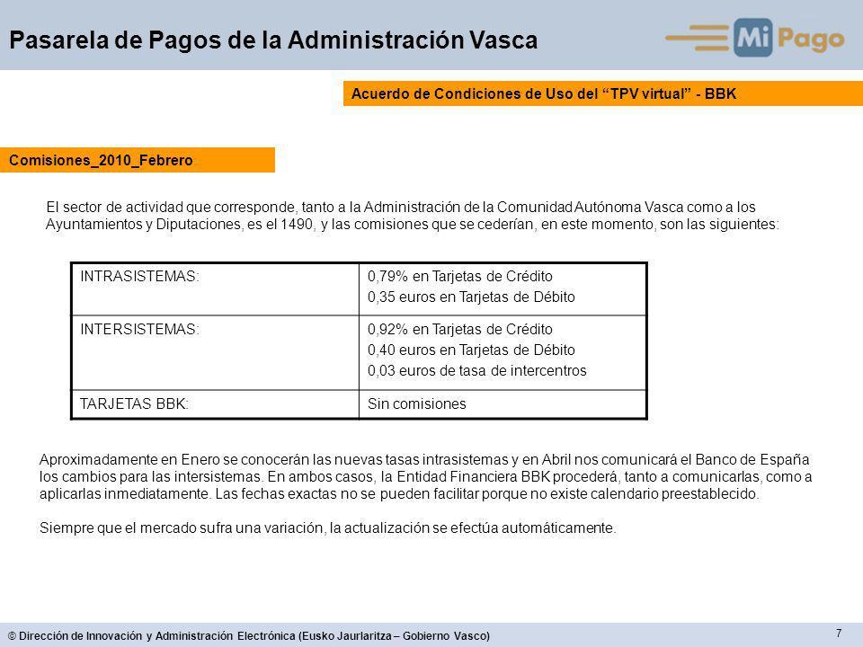 7 © Dirección de Innovación y Administración Electrónica (Eusko Jaurlaritza – Gobierno Vasco) Pasarela de Pagos de la Administración Vasca Acuerdo de