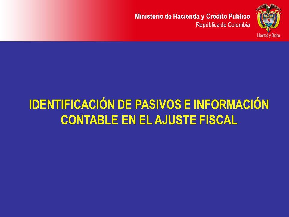 Ministerio de Hacienda y Crédito Público República de Colombia IDENTIFICACIÓN DE PASIVOS E INFORMACIÓN CONTABLE EN EL AJUSTE FISCAL