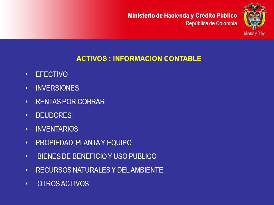 Ministerio de Hacienda y Crédito Público República de Colombia ACTIVOS : INFORMACION CONTABLE EFECTIVO INVERSIONES RENTAS POR COBRAR DEUDORES INVENTAR