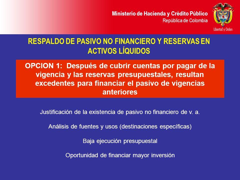 Ministerio de Hacienda y Crédito Público República de Colombia OPCION 1: Después de cubrir cuentas por pagar de la vigencia y las reservas presupuesta