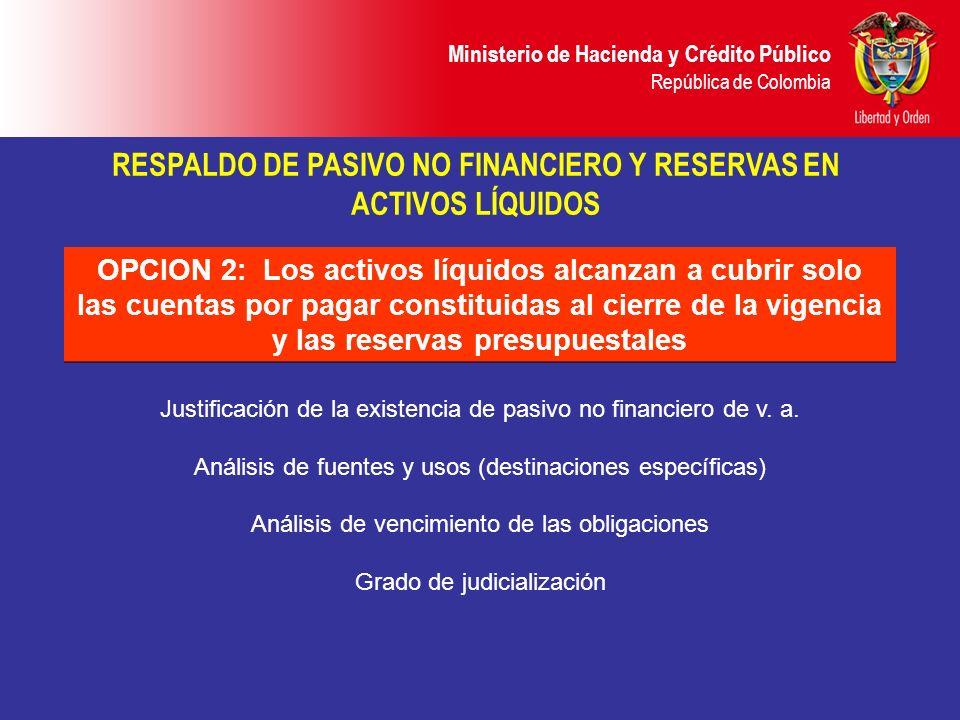 Ministerio de Hacienda y Crédito Público República de Colombia OPCION 2: Los activos líquidos alcanzan a cubrir solo las cuentas por pagar constituida