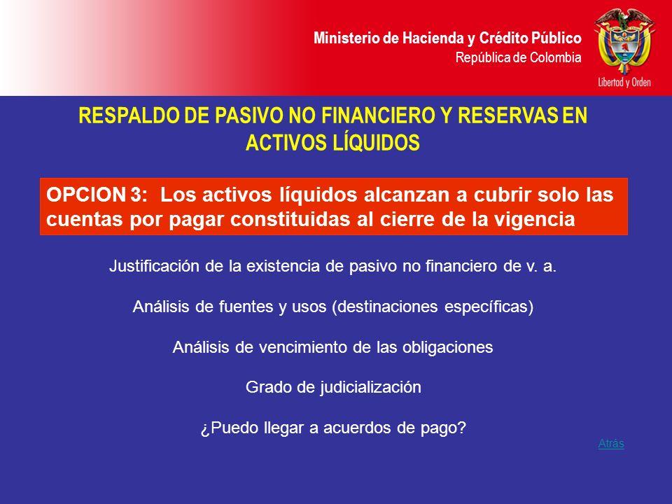 Ministerio de Hacienda y Crédito Público República de Colombia Atrás OPCION 3: Los activos líquidos alcanzan a cubrir solo las cuentas por pagar const