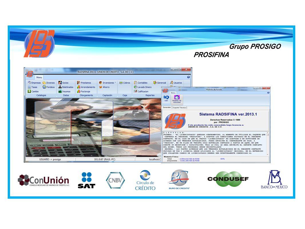PROSIFINA es un sistema para instituciones financieras mediante el cual se resuelven sus necesidades de control de cartera, sus registros contables, su manejo de tesorería y la emisión de informes de regulación.