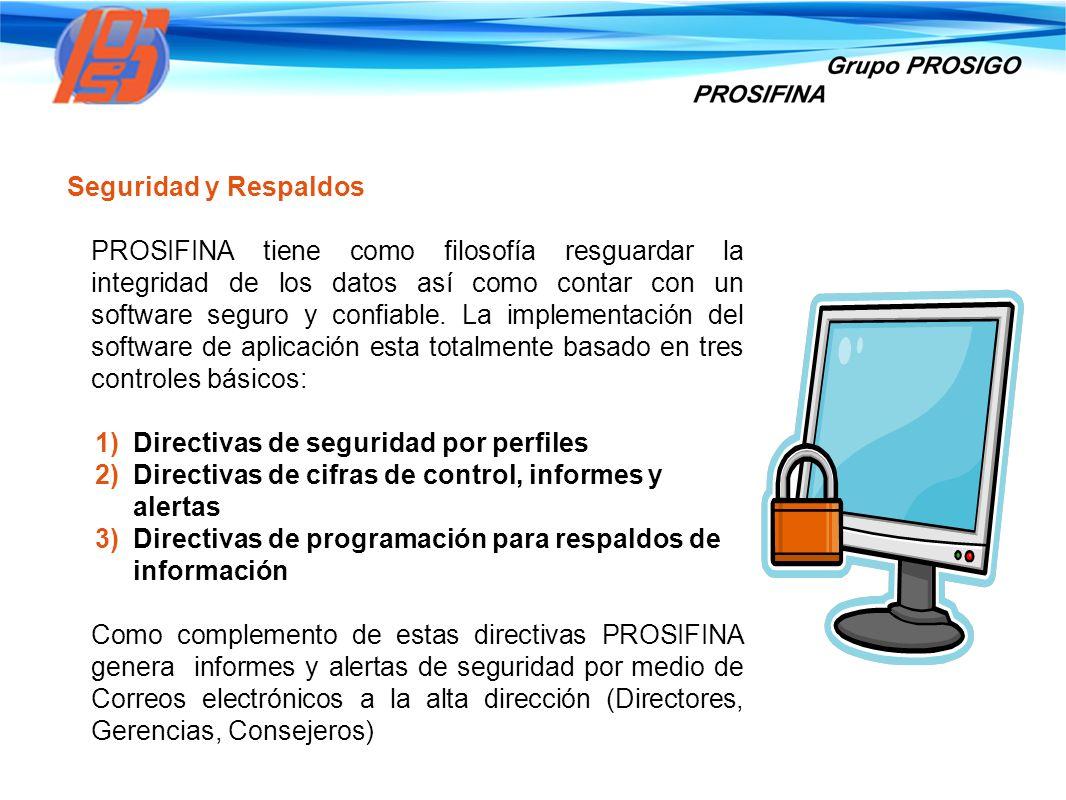 Seguridad y Respaldos PROSIFINA tiene como filosofía resguardar la integridad de los datos así como contar con un software seguro y confiable. La impl
