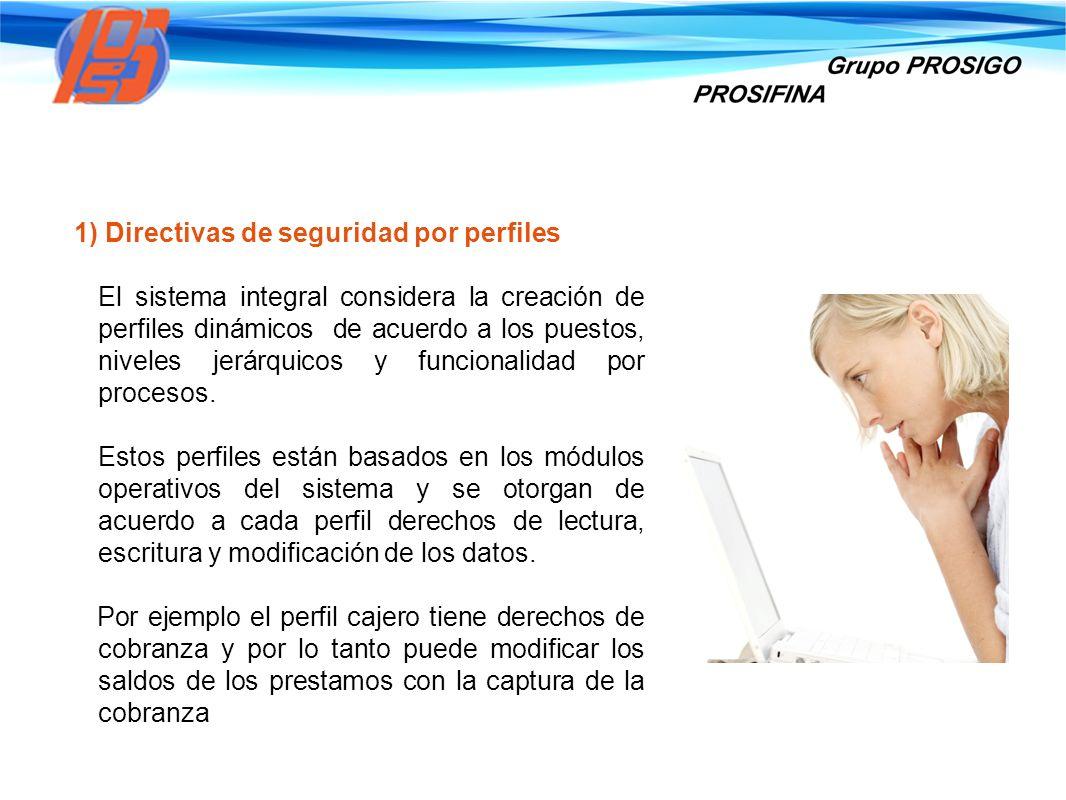 1) Directivas de seguridad por perfiles El sistema integral considera la creación de perfiles dinámicos de acuerdo a los puestos, niveles jerárquicos