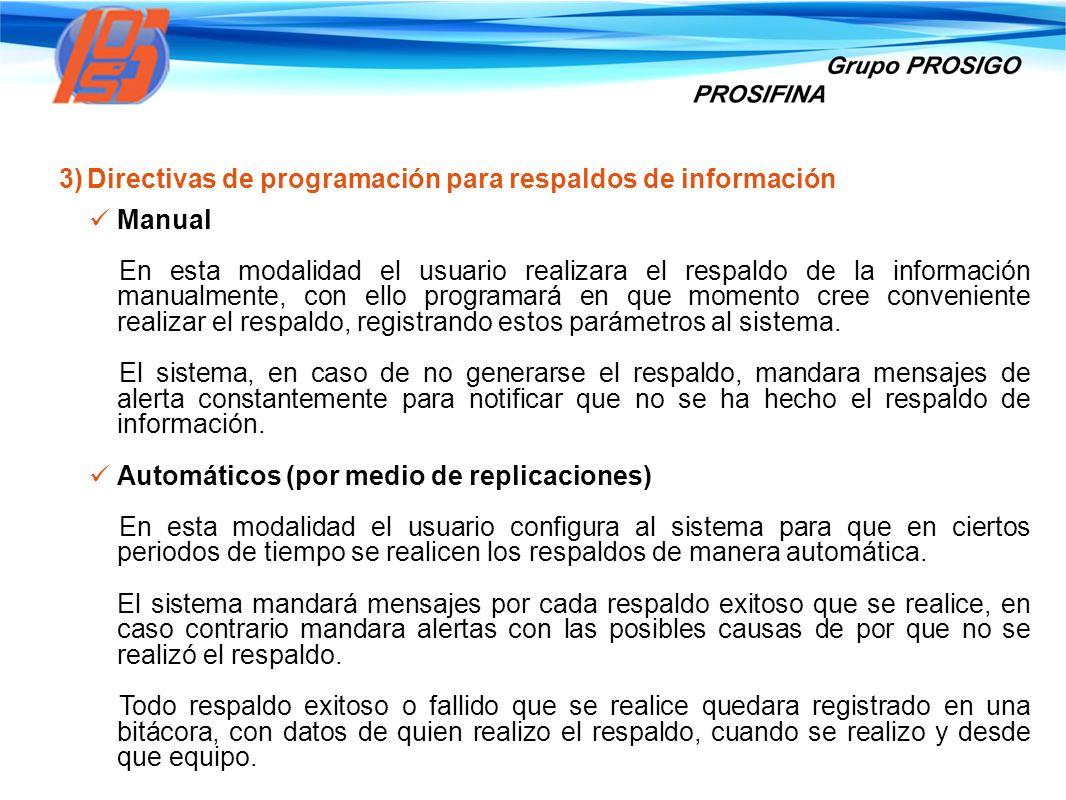 3)Directivas de programación para respaldos de información Manual En esta modalidad el usuario realizara el respaldo de la información manualmente, co