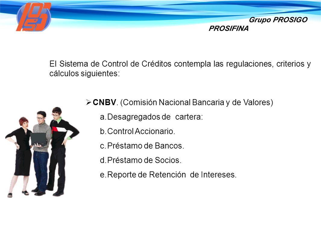 El Sistema de Control de Créditos contempla las regulaciones, criterios y cálculos siguientes: CNBV. (Comisión Nacional Bancaria y de Valores) a. Desa
