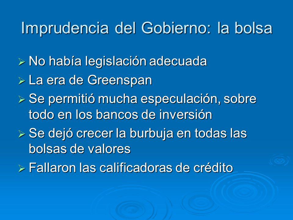 Imprudencia del Gobierno: la bolsa No había legislación adecuada No había legislación adecuada La era de Greenspan La era de Greenspan Se permitió muc